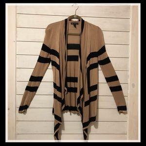 INC Striped Cardigan - tan and black